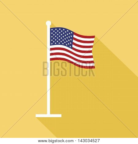 National flag of USA on flagpole vector flat icon. Vector icon of American flag in flat style with long shadow. Flat icon with star-spangled banner. Vector illustration in EPS8 format.