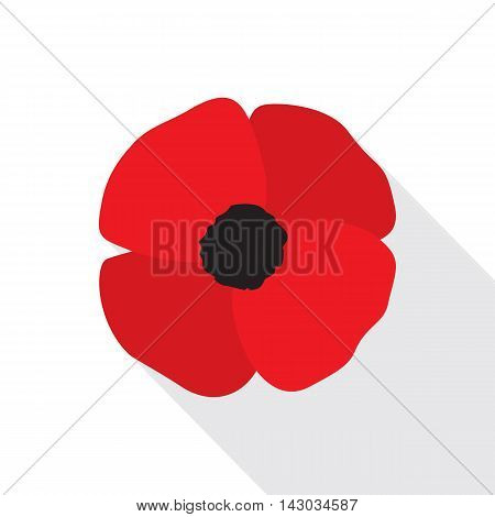 Red poppy flat icon. Stylized flower symbol. Vector illustration in EPS8 format.