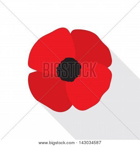 Red poppy flat icon. Stylized flower symbol. Vector illustration in EPS8 format.