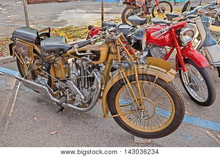 FAENZA ITALY - NOVEMBER 1: old swiss motorbike Motosacoche 500 cc (1930)in classic motorcycle rally during the festival