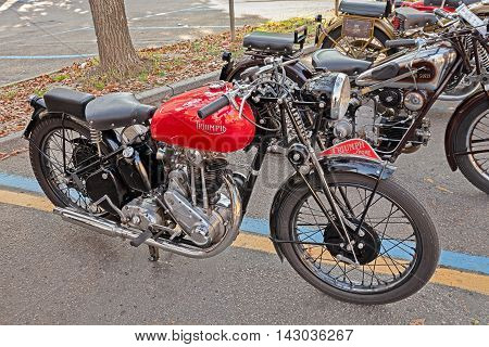 FAENZA ITALY - NOVEMBER 1: old british motorbike Triumph 3H 350 cc (1942)in classic motorcycle rally during the festival