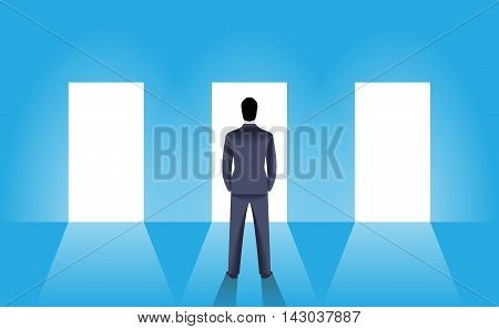Choice business concept. Confident businessman stands in front of three shining doors. Bright light is coming from every door but he have to pick only one. Career opportunity luck and choice.