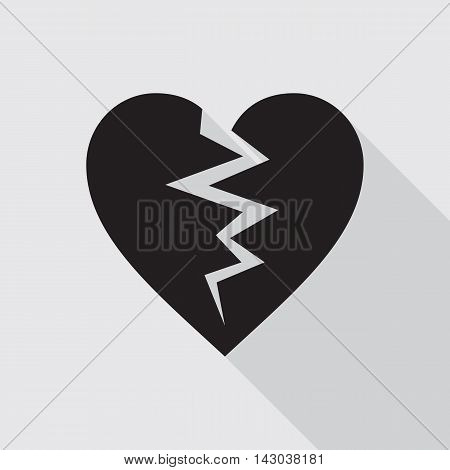 Black broken heart flat icon on gray background. Symbol of cracked heart. Vector illustration in EPS8 format.