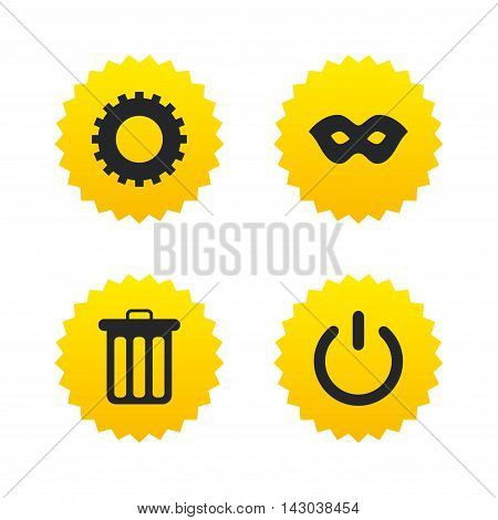 Anonymous mask and cogwheel gear icons. Recycle bin delete and power sign symbols. Yellow stars labels with flat icons. Vector