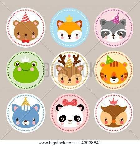 Funny stickers with animals to birthday. Vector set with wild animals in cartoon style. Children s illustration with baby animals.