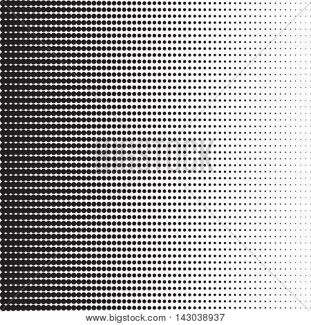 Dots halftone pattern with gradient effect. Horizontal spots. Horizontally directed points. Template for backgrounds and stylized textures. Design element. Vector illustration in EPS8 format.