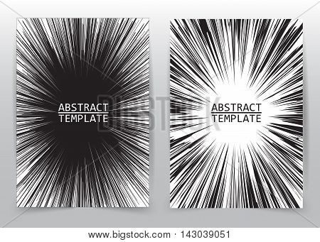 Business brochure flyer design template radial speed abstract background ,layout for comic books, vector illustration.