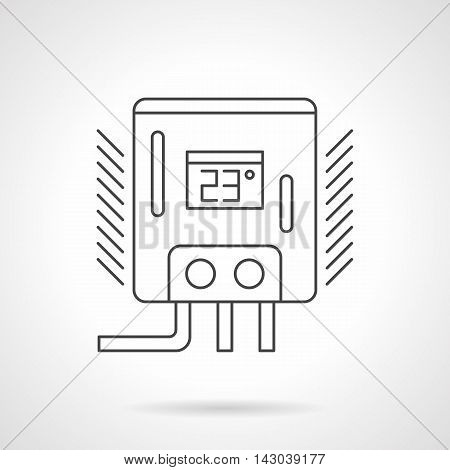Water heater or boiler with preset temperature 23, two switches and pipes. Appliances and equipment for home heating, warm floor system. Flat line style vector icon.