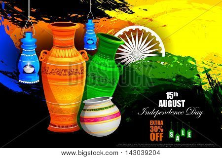 easy to edit vector illustration of Tricolor Pot on Indian Independence Day celebration Advertisement background