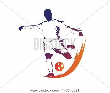 Modern Soccer Player In Action Logo - Ball On Fire Penalty Kick