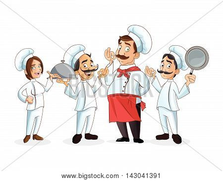 woman man mustache chef chefs hat people frying pan plate kitchen restaurant icon. Cartoon and anime design. Vector illustration