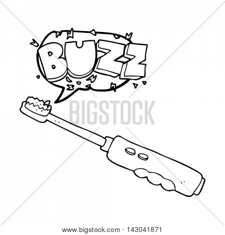 freehand drawn speech bubble cartoon buzzing electric toothbrush