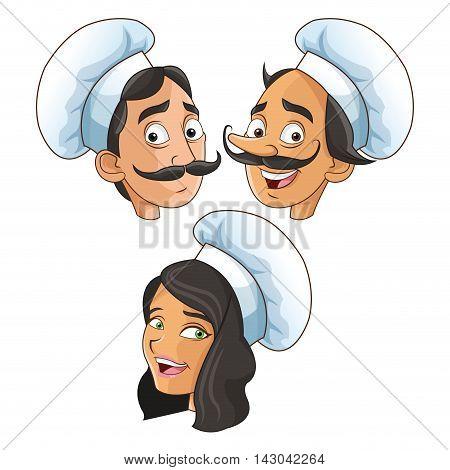 woman man mustache chef chefs hat people kitchen restaurant icon. Cartoon and anime design. Vector illustration
