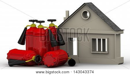 Fire safety real estate. Symbol of the house and fire extinguishers are on the white surface. Property fire safety concept. Isolated. 3D Illustration
