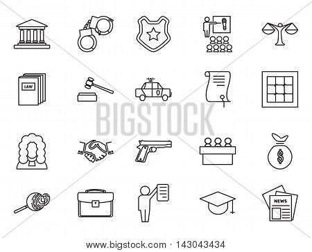 Set of black and white law and justice linear icons , The legal system, judge, police and lawyer vector illustration