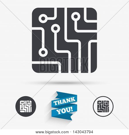 Circuit board sign icon. Technology scheme square symbol. Flat icons. Buttons with icons. Thank you ribbon. Vector
