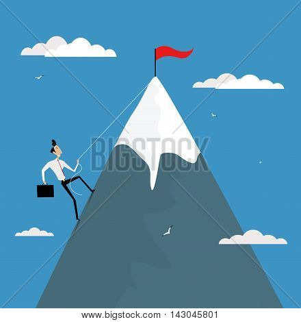 Cartoon businessman climbing mountain with flag on the top. Career development promotion achieve goals concept vector illustration.