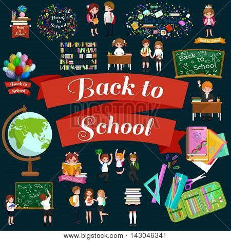 happy children fun activities at school like painting, studying, learning, jumping.Back to school vector background, children back to school and learning with books, student writing at school blackboard