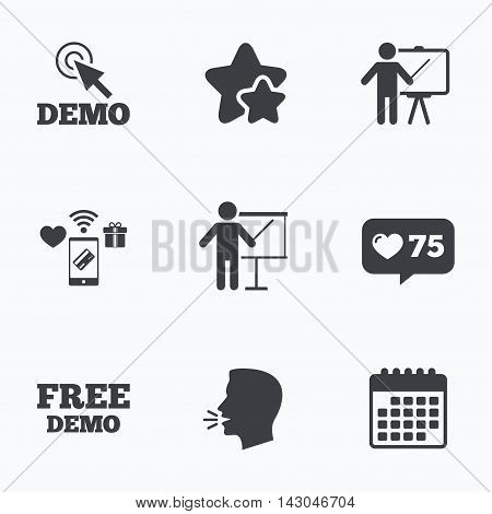Demo with cursor icon. Presentation billboard sign. Man standing with pointer symbol. Flat talking head, calendar icons. Stars, like counter icons. Vector