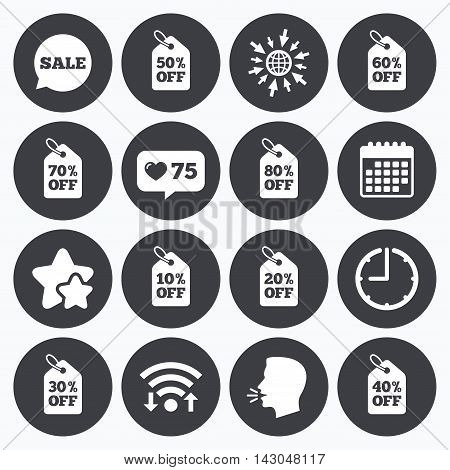 Calendar, wifi and clock symbols. Like counter, stars symbols. Sale discounts icons. Special offer signs. Shopping price tag symbols. Talking head, go to web symbols. Vector
