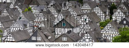 Panorama of studwork houses Freudenberg , Nordrhein Westfalen, Germany