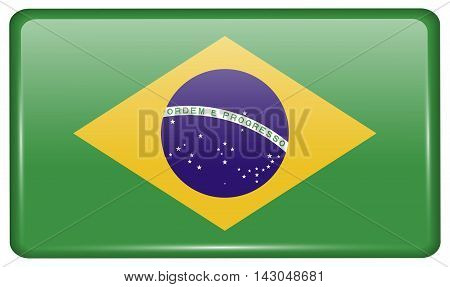 Flags Brazil In The Form Of A Magnet On Refrigerator With Reflections Light. Vector