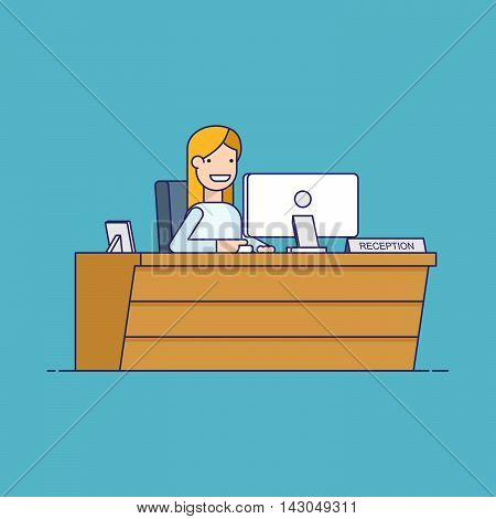 Smiling secretary sitting at a computer in the reception. Happy woman waits for customers at the workplace. Thin line vector character in flat style isolated on blue background