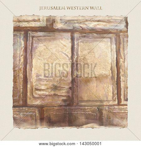 Western wall Jerusalem. David's city - old city of Jerusalem. Israel. Rosh Ha Shana. Digital Illustration. Hand Drawn. Kotel Watercolor. Slichot. Jewish Holiday Religion Tradition. Torah.
