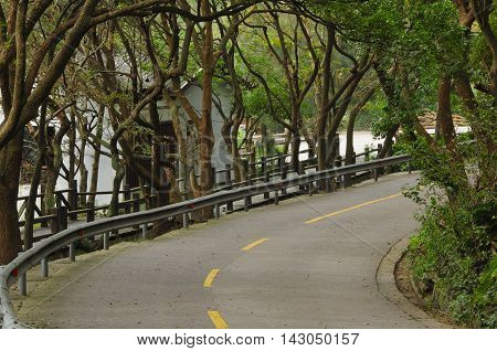 An empty road on the island of Putuoshan located in Zhejiang Province China.