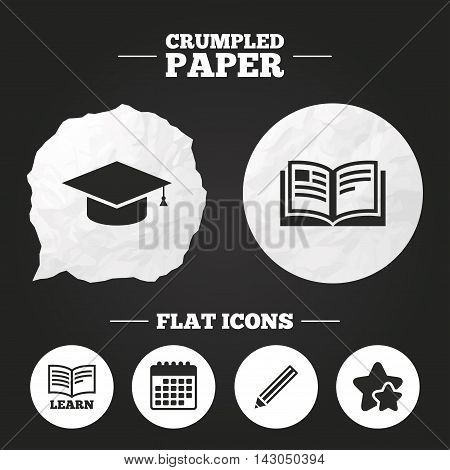Crumpled paper speech bubble. Pencil and open book icons. Graduation cap symbol. Higher education learn signs. Paper button. Vector