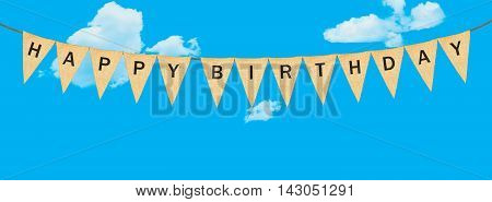 Individual Cloth Pennants Or Flags With Happy Birthday