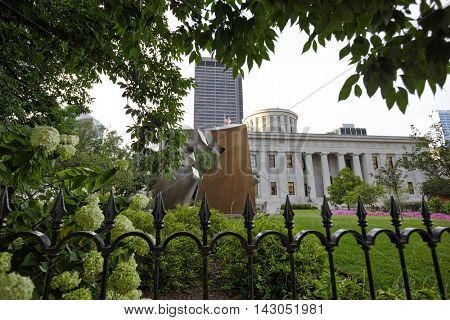 COLUMBUS, OHIO - AUGUST 11, 2016:  The southern plaza of the Ohio Statehouse has the Holocaust and Liberators monument.