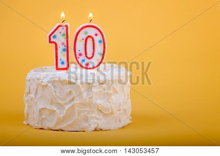 10 candles on a birthday cake for tenth birthday