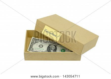 vacation money savings in cardboard box isolated on white backgdround. Travel budget.