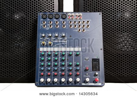 Audio Mixing Console And Speakers