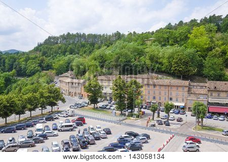 Urbino, Italy - August, 1, 2016: car parking in Urbino, Italy