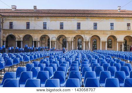 Mantua, Italy - July, 23, 2016: open air cinema in a center of Mantua, Italy