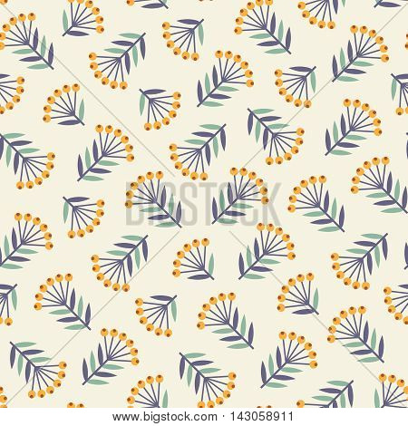 Seamless pattern with abstract decorative plants with orange berries turquoise and dark blue leaves on creamy white background