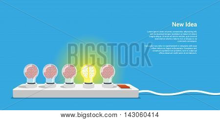 picture of five lightbulbs with brains inside new idea concept flat style illustration