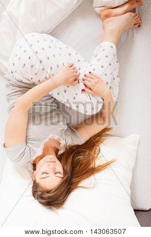 Girl Sleeping In Bed.