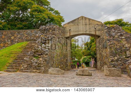 COLONIA DEL SACRAMENTO, URUGUAY - MAY 04, 2016: the city gate is one of the main tourist places in colonia.
