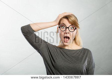 Shocked Lady Expressing Awe.