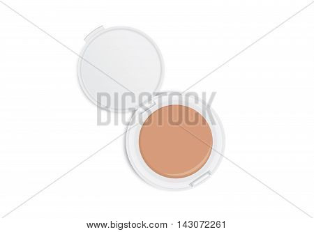 Makeup powder nude color in dark brown powder case which opened isolated on white background.