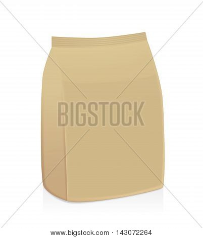 Brown paper bag package not have label on a white background. Ideal for food packaging mock up and other.