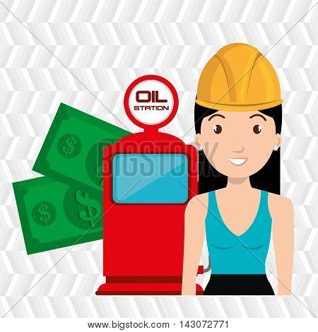 woman dispenser gasoline vector illustration graphic eps 10 poster