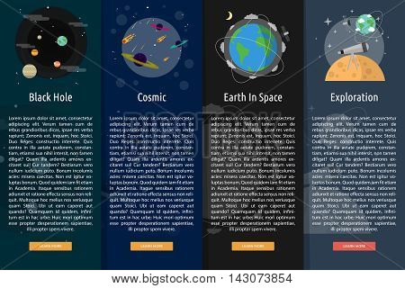 Space and Universe | Set of great vertical banner flat design illustration concepts for space, universe, galaxy, astrology, planet and much more.