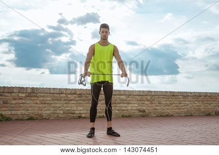 Young Man Fitness Resistance Band Training Stretching