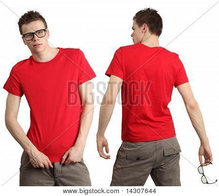 Male Wearing Blank Red Shirt