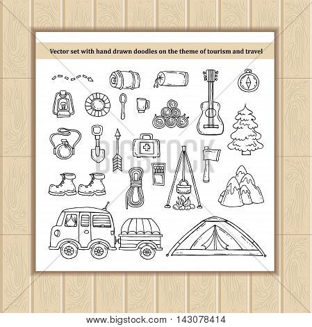 Vector set with hand drawn doodles on the theme of tourism and travel. Sketches for use in design, web site, packing, textile, fabric