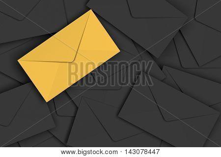 Vip Golden Envelope On Pile Of Black Envelopes Background, 3D Rendering
